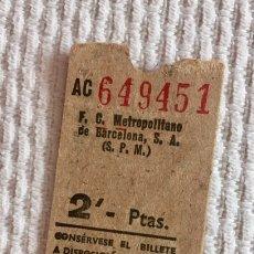 Coleccionismo Billetes de transporte: BILLETE METRO DE BARCELONA (F.C.M.B.). 2 PESETAS. Lote 136733790