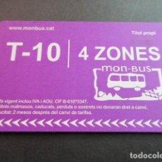 Coleccionismo Billetes de transporte: TARJETA T-10 4 ZONAS. Lote 175836692