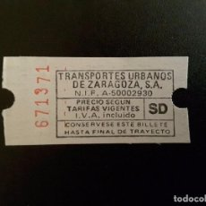 Coleccionismo Billetes de transporte: BILLETE TRANSPORTES URBANOS ZARAGOZA. Lote 137186138