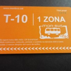 Coleccionismo Billetes de transporte: TARJETA T-10 1 ZONA. Lote 175836705