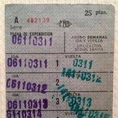 Coleccionismo Billetes de transporte: METRO BARCELONA (FMB) ABONO SEMANAL IDA Y VUELTA - 25 PESETAS / 6 VIAJES - 7 X 10,5 CM. Lote 137323722