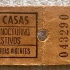 Coleccionismo Billetes de transporte: 2 BILLETES CORRELATIVOS SIN CORTAR AUTOBUS EMPRESA CASAS. 'BILLETE NOCTURNO Y FESTIVOS'. RARO.. Lote 137333278