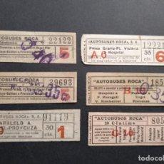 Coleccionismo Billetes de transporte: LOTE 6 BILLETES CAPICUA CAPICÚA TRAYECTOS Y NÚMEROS DIFERENTES AUTOBUSES ROCA. Lote 137590766
