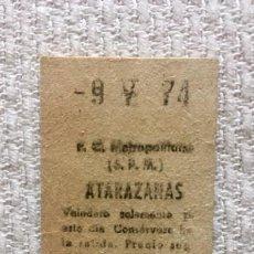 Coleccionismo Billetes de transporte: BILLETE METRO BARCELONA, ESTACIÓN ATARAZANAS (1974). Lote 137738890