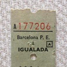 Coleccionismo Billetes de transporte: BILLETE FERROCARILES CATALANES BARCELONA PLAZA ESPAÑA A IGUALADA - 50 PESETAS. Lote 137797998