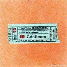 Coleccionismo Billetes de transporte: BILLETE MUY ANTIGUO DE TRANVIAS DE ZARAGOZA 15 CTS 1910-20 (REVERSO LAS NORMAS). Lote 137855594
