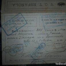 Coleccionismo Billetes de transporte: BILLETE IDA Y VUELTA DE TREN PARA CONGRESITA O PEREGRINOS -VALLADOLID -MADRID 1921 . Lote 139676474