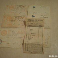 Coleccionismo Billetes de transporte: BILLETES Y FACTURAS MANUTENCIÓN COMPAÑIA VALENCIANA DE VAPORES CORREOS DE AFRICA (1915). Lote 140446654