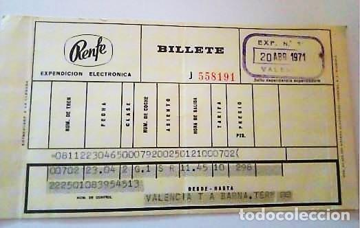 BILLETE RENFE AÑO 1971 (Coleccionismo - Billetes de Transporte)
