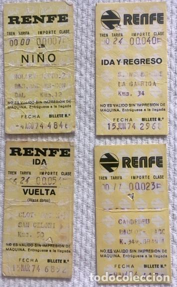 [LOTE DE CONJUNTO:] 4 BILLETES RENFE (VER DESCRIPCIÓN). CERCANÍAS: LA GARRIGA, CARDEDEU, MOLLET,... (Coleccionismo - Billetes de Transporte)
