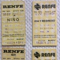 Coleccionismo Billetes de transporte: [LOTE DE CONJUNTO:] 4 BILLETES RENFE (VER DESCRIPCIÓN). CERCANÍAS: LA GARRIGA, CARDEDEU, MOLLET,.... Lote 140857394