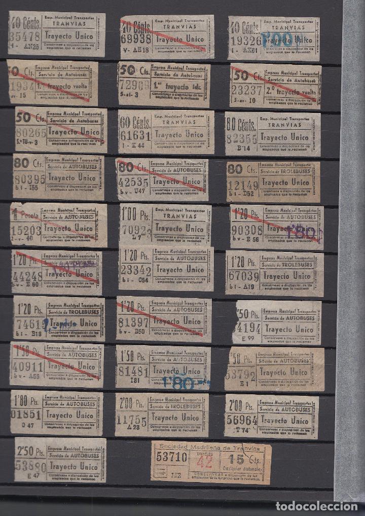 28 BILLETES DIFERENTES TRAYECTO MADRID EMT TRANVIAS AUTOBUSES TROLEBUSES SOCIEDAD MADRILEÑA TRANVIAS (Coleccionismo - Billetes de Transporte)