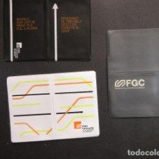 Coleccionismo Billetes de transporte: COLECCION 3 PORTA TARJETA DIFERENTES FERROCARRILES GENERALITAT BARCELONA RENFE AUTOBUS METRO TRANVIA. Lote 142151246