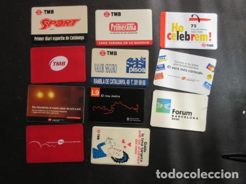 COLECCION 11 PORTA TARJETA DIFERENTES TMB BARCELONA - FERROCARRIL METRO AUTOBUS RENFE TRANVIA (Coleccionismo - Billetes de Transporte)