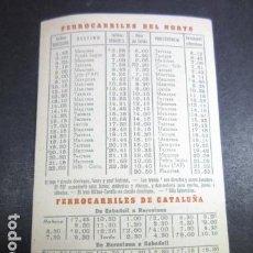 Coleccionismo Billetes de transporte: HORARIOS FERROCARRILES DEL NORTE Y DE CATALUÑA SALIDAS SABADELL BARCELONA PUBLICIDAD TAXIS APEADERO. Lote 142152950