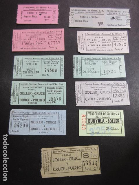 COLECCION 11 BILLETES DIFERENTES TRANVIA DE SOLLER MALLORCA PALMA FERROCARRIL (Coleccionismo - Billetes de Transporte)