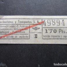 Coleccionismo Billetes de transporte: 49894 CAPICUA URBANIZACIONES Y TRANSPORTES URBAS VER TRAYECTOS Y PRECIO. Lote 142964218