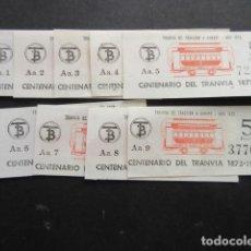 Coleccionismo Billetes de transporte: MUY CURIOSO LAS 9 SERIES AA JUNTAS LOTE 9 BILLETES CENTENARIO TRANVIA 1872 1972 BARCELONA. Lote 142964338