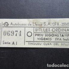 Coleccionismo Billetes de transporte: BILLETE AUTOBUSES DE LLEIDA LERIDA ORDINARIO. Lote 142964798