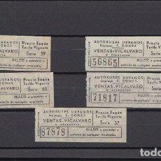 Coleccionismo Billetes de transporte: 5 BILLETES Nº DIFERENTES CAPICUA MADRID AUTOBUSES URBANOS F. DONES VENTAS VICALVARO. Lote 143122710