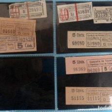Coleccionismo Billetes de transporte: LOTE DE 8 BILLETES DE TRANSPORTES , CAPICUAS, ANTIGUOS , CIA TRANVIAS Y FERROCARRILES , ORIGINALES . Lote 143201358