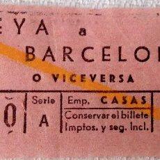Coleccionismo Billetes de transporte: BILLETE AUTOBUS EMPRESA CASAS TEYÁ A BARCELONA O VICEVERSA. SERIE A [TEIÁ] DIFÍCIL.. Lote 143787850