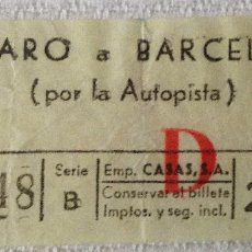 Coleccionismo Billetes de transporte: BILLETE AUTOBÚS EMPRESA CASAS MATARÓ - BARCELONA (POR LA AUTOPISTA). 28 PESETAS. (DIFÍCIL). Lote 143788986