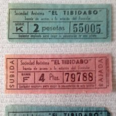 Coleccionismo Billetes de transporte: TRES BILLETES DIFERENTES TRANVÍA AV. TIBIDABO - ESTACIÓN FUNICULAR [BARCELONA]. VER.. Lote 143825790