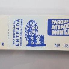 Coleccionismo Billetes de transporte: TALONARIO COMPLETO DEL DESAPARECIDO PARQUE ATRACCIONES MONTJUICH 100 ENTRADAS IMPECABLE. Lote 143959056