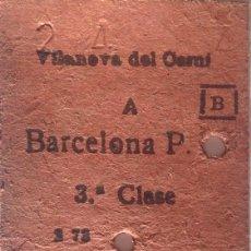 Coleccionismo Billetes de transporte: BILLETE FERROCARRILES CATALANES VILANOVA DEL CAMÍ A BARCELONA. 33 PESETAS. AÑOS 70. CARTÓN. Lote 143960794