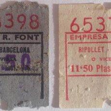 Coleccionismo Billetes de transporte: 2 BILLETES DIFERENTES AUTOBÚS EMPRESA R. FONT: RIPOLLET - BARCELONA. Lote 143978410