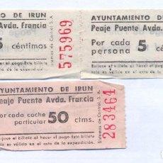 Coleccionismo Billetes de transporte: AYUNTAMIENTO DE IRUN. PEAJE PUENTE AVDA. FRANCIA. DOS DE 5 CTMS Y UNO DE 50 CTMS (COCHE)1/9/1954. Lote 144973658