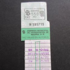 Coleccionismo Billetes de transporte: TARJETA RESISTIVA MADRID 550 PESETAS . Lote 145393982