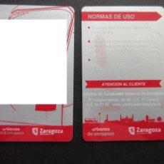 Coleccionismo Billetes de transporte: TARJETA PLASTICO ABONO DE TRANSPORTE DE ZARAGOZA LOGO URBANOS MODELO 2. Lote 145397294