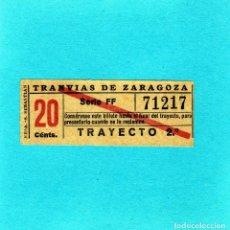 Coleccionismo Billetes de transporte: BONITO BILLETE DE TRANVIAS DE ZARAGOZA 20 CTS. CAPICUA TRAYECTO 2º AÑOS 40. Lote 145428342