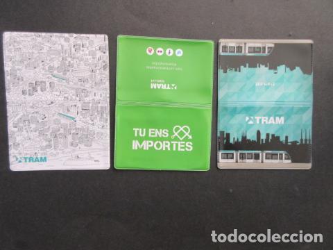 COLECCION 3 PORTA TARJETAS TRANVIA TRAM DE BARCELONA - RENFE FERROCARRIL AUTOBUS METRO (Coleccionismo - Billetes de Transporte)