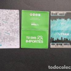 Coleccionismo Billetes de transporte: COLECCION 3 PORTA TARJETAS TRANVIA TRAM DE BARCELONA - RENFE FERROCARRIL AUTOBUS METRO. Lote 146204258