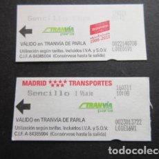 Coleccionismo Billetes de transporte: BILLETE TRANVIA DE PARLA MADRID 2 BILLETES DIFERENTES - METRO AUTOBUS TRANVIA. Lote 146375558