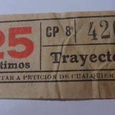 Coleccionismo Billetes de transporte: ANTIGUO BILLETE CAPICÚA TB, 25 CÉNTIMOS, 1944, VER FOTOS. Lote 146475306