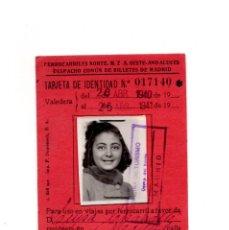 Coleccionismo Billetes de transporte: BILLETE FERROCARRIL DEL NORTE 1940 - 41 TARJETA DE IDENTIDAD. Lote 146687374