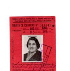 Coleccionismo Billetes de transporte: BILLETE FERROCARRIL DEL NORTE 1940 - 41 TARJETA DE IDENTIDAD. Lote 146687498