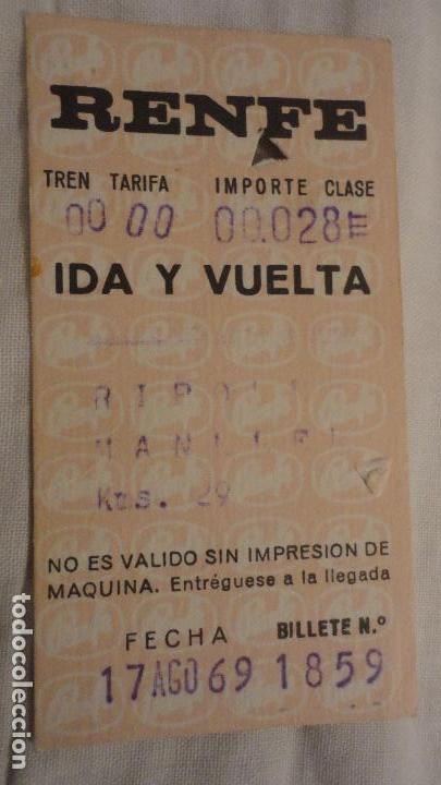ANTIGUO BILLETE RENFE RIPOLL-MANLLEU 1969 (Coleccionismo - Billetes de Transporte)