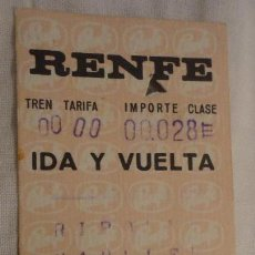 Coleccionismo Billetes de transporte: ANTIGUO BILLETE RENFE RIPOLL-MANLLEU 1969. Lote 147649126