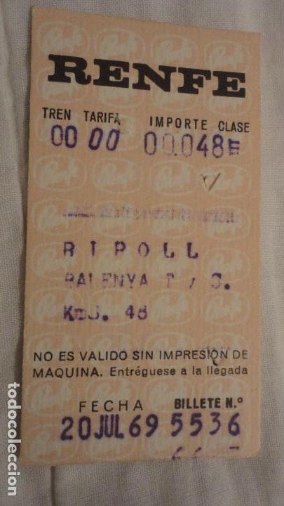 ANTIGUO BILLETE RENFE RIPOLL-BALENYÁ 1969 (Coleccionismo - Billetes de Transporte)