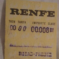Coleccionismo Billetes de transporte: ANTIGUO BILLETE RENFE RIBAS FRESER-RIPOLL 1971. Lote 147649718