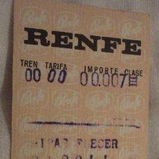 Coleccionismo Billetes de transporte: ANTIGUO BILLETE RENFE RIBAS FRESER-RIPOLL 1969. Lote 147649830