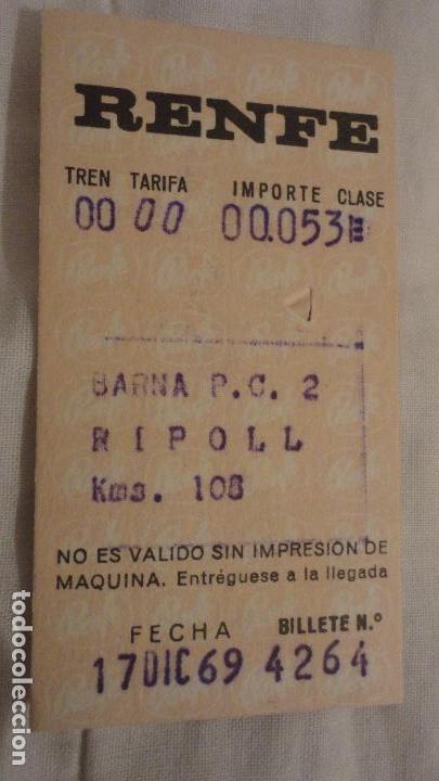 ANTIGUO BILLETE RENFE BARCELONA-RIPOLL 1969 (Coleccionismo - Billetes de Transporte)
