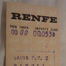 Coleccionismo Billetes de transporte: ANTIGUO BILLETE RENFE BARCELONA-RIPOLL 1969. Lote 147652110
