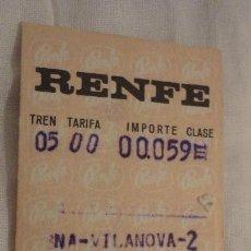 Coleccionismo Billetes de transporte: ANTIGUO BILLETE RENFE BARCELONA-VILANOVA-RIPOLL 1971. Lote 147652258