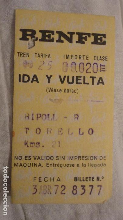 ANTIGUO BILLETE RENFE RIPOLL- TORELLO 1972 (Coleccionismo - Billetes de Transporte)